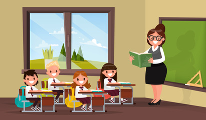 Lesson. A teacher with pupils in primary school classroom. Vecto