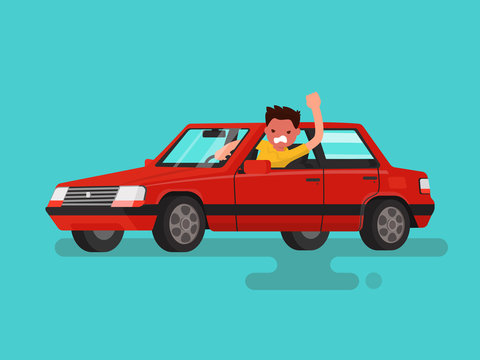 Traffic jams. Angry man swears in the car. Vector illustration