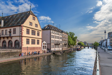 Strasbourg, France. Waterfront Ile river. On the left - the building of the old slaughterhouse (Grande boucherie), 1588