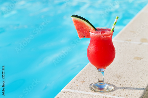 Smoothie Juice Drink Glass And Swimming Pool Holiday Tropical Concept Stock Photo And Royalty