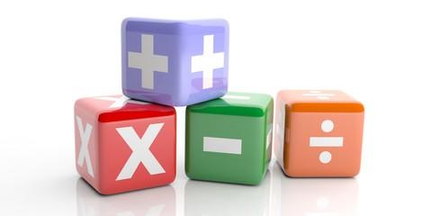 Math symbols on white background. 3d illustration