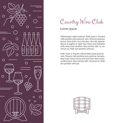 Winemaking, wine tasting flyer, poster with winery symbols and with place for your text. Vector design template with winery graphic design elements in white mono line style isolated on background.