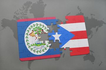 puzzle with the national flag of belize and puerto rico on a world map background.