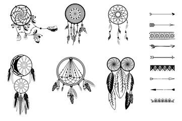 Vector illustration set of dreamcatcher.