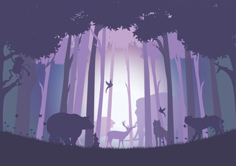 Animals in the wild with joy., Vector illustrations