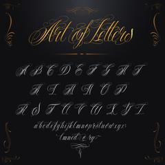 Gold Tattoo Alphabet