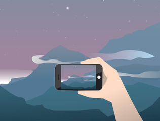 Vector illustration travel photo of sunrise in mountains