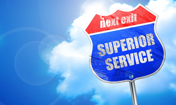 superior service, 3D rendering, blue street sign