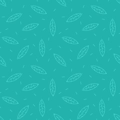 Outline leaves seamless pattern