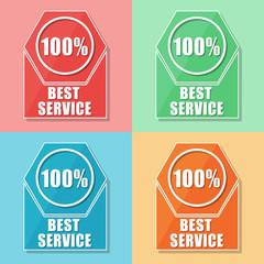 best service 100 percentages, four colors web icons, vector