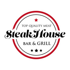 Steakhouse stamp logo - grill and bar