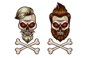 Vector set of skull and crossbones. Skull in hipster style. Tattoo Hipster character with a skull.