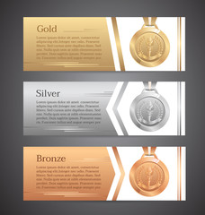 Set of horizontal banners, Gold, Silver, Bronze medal, Vector illustration.