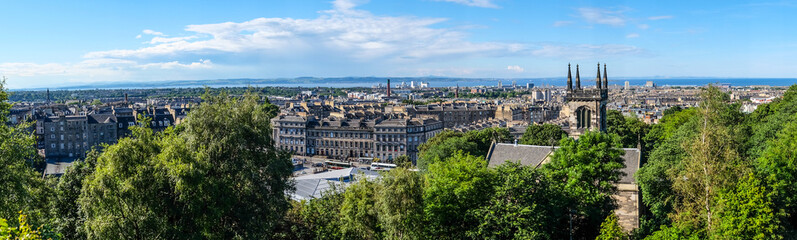 Panorama on mountain view point over Edinburgh city.