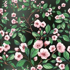 Seamless pattern of pink flowers and green leaves.