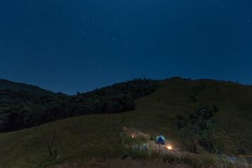 Camping on summit of Tulay Hill, Tak province, Thailand