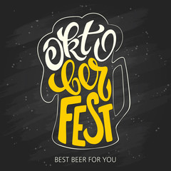 Poster Positive Typography vector hand lettering oktoberfest label in beer mug shape is surrounded with bubbles