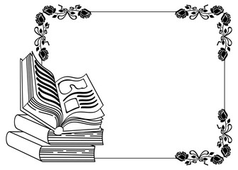 Contour frame with roses, books. Vector clip art.