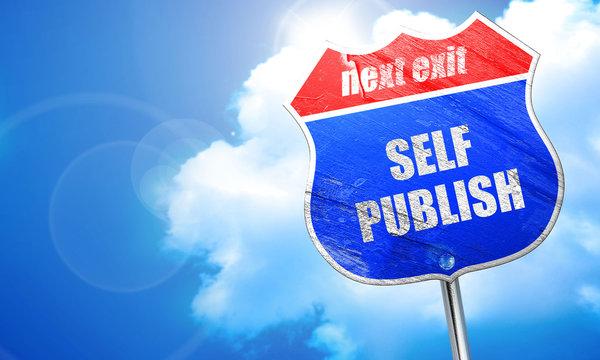self publishing, 3D rendering, blue street sign