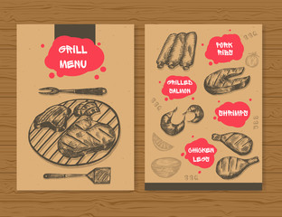 Grill menu template. Ready design BBQ menu for restaurant, bar, etc. Hand drawn sketch meat products. Vector illustration