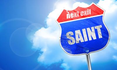saint, 3D rendering, blue street sign