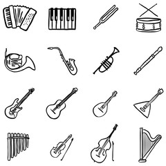 Vector Set of Black Doodle Musical Instruments Icons