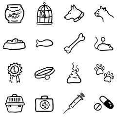 Vector Set of Black Doodle Pets Icons