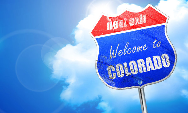 Welcome to colaroda, 3D rendering, blue street sign