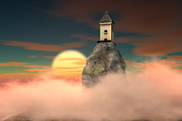 3d illustration of Dragon tower on dramatic sky fantasy background with full moon rising