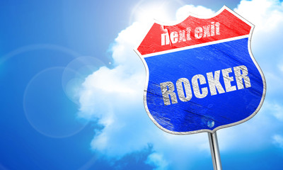 rocker, 3D rendering, blue street sign