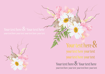 wedding card or invitation card pink color background.cherry blossom flower with daisy and fern leaves created to be cute bouquet