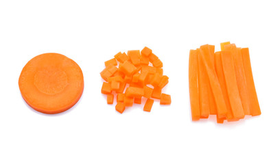 Carrot sticks isolated on white background.