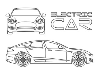 Silhouette of electric car. Outline