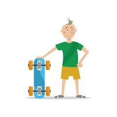boy holding a skateboard. vector illustration of cartoon