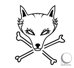 graphic vector illustration of stylized wolf head or mask with crossbones