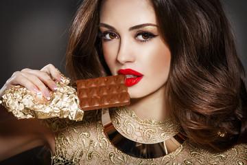 Beauty woman fashion model bright makeup