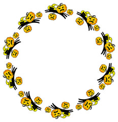 Round frame with black cats and Halloween pumpkins. Vector clip art.
