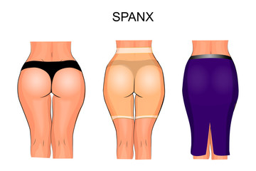 women's buttocks and thighs to tight underwear. spanx