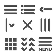 Flat Menu Icon Illustration for Website Navigation