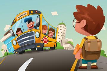 Kid Waiting at a Bus Stop