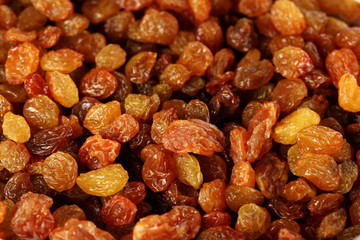Dried raisins background, on close up