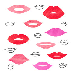 Watercolor lips set. Collection of vector women's mouths and multicolored lips icons