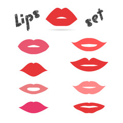 Lips set. Collection of vector women's mouths and multicolored lips icons.