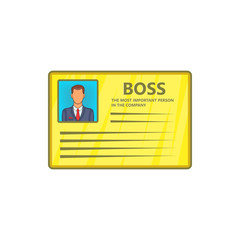 Card of boss icon in cartoon style isolated on white background. Contact details symbol