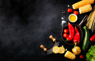Frame of vegetables, healthy or vegetarian concept, top view, copy space