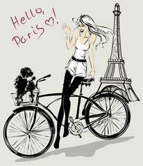 Fotomurales - Retro fashion girl with dog in a bicycle basket near Eiffel Tower, Paris