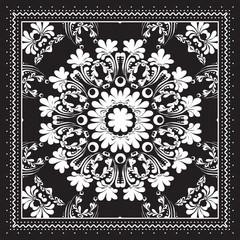 Black and white Bandana print design with borders for fashion textile.