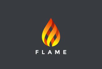 Fire Flame droplet Logo design vector Burning fireball icon