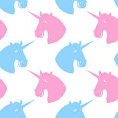 Unicorn seamless pattern. Blue fabulous beast with horn ornament