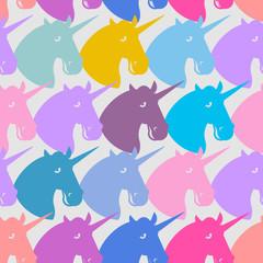 Unicorn seamless pattern. Blue fabulous beast with horn ornament